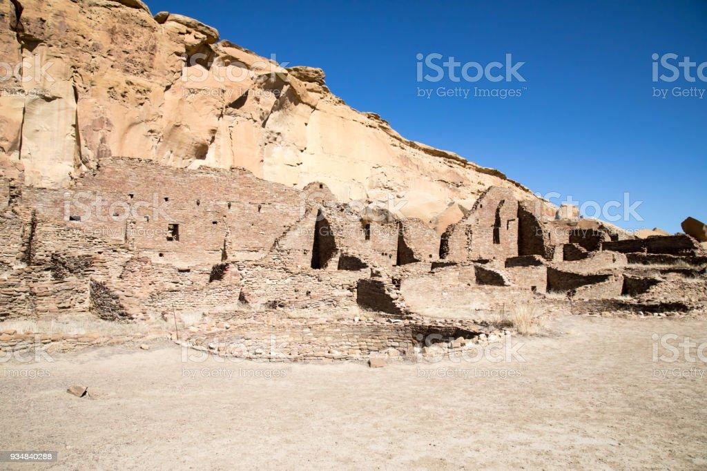 뉴멕시코에 있는 차코 협곡 국립 역사 공원 파괴 푸에블로 - 로열티 프리 0명 스톡 사진