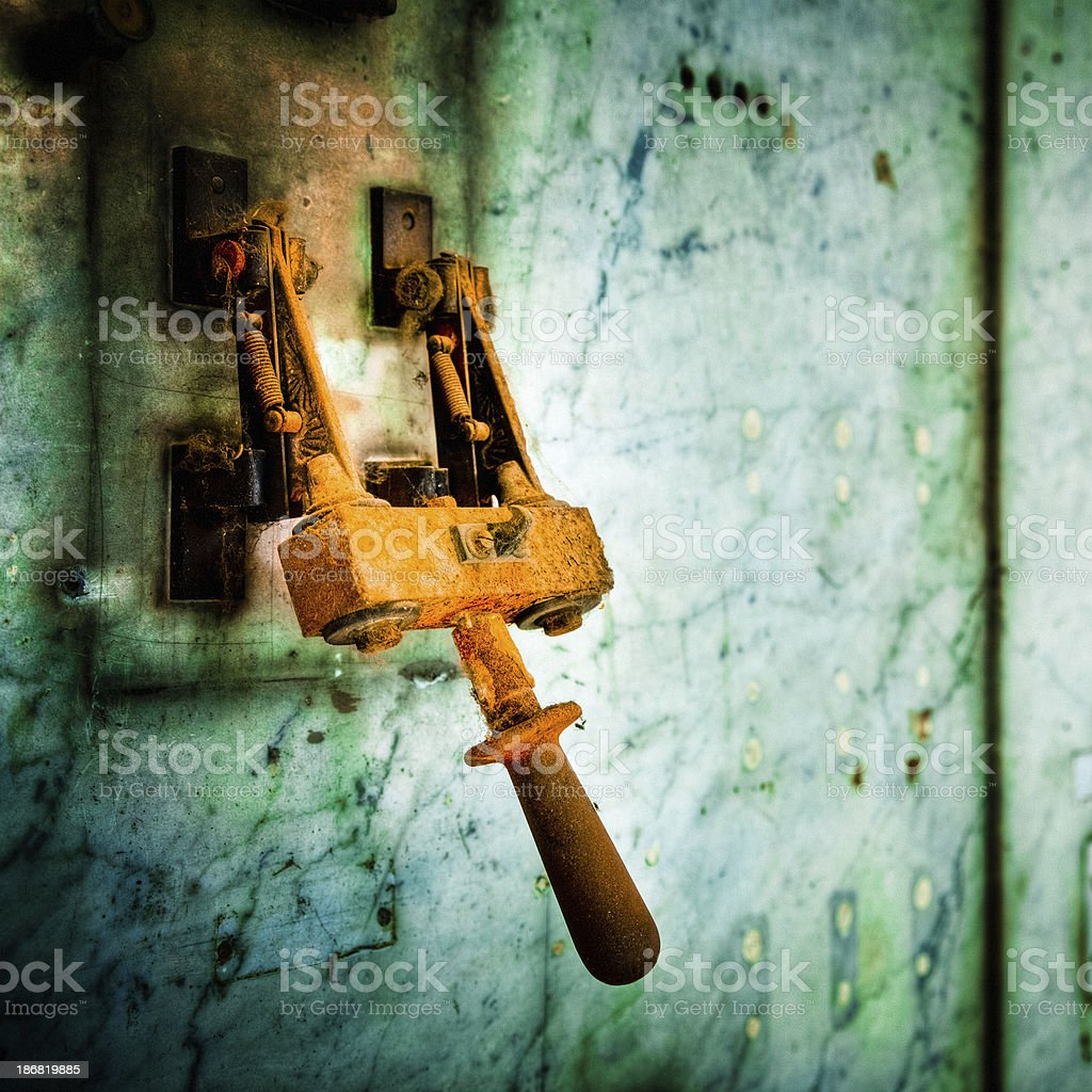 Ruined Rusty Lever stock photo