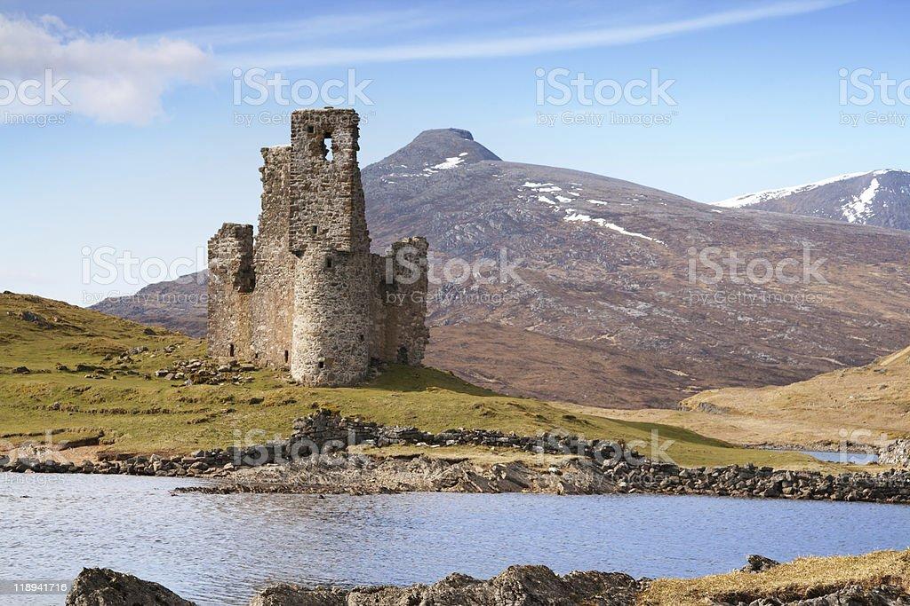ruined scottish castle stock photo