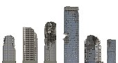 3D illustration ruined skyscrapers buildings isolated on white background