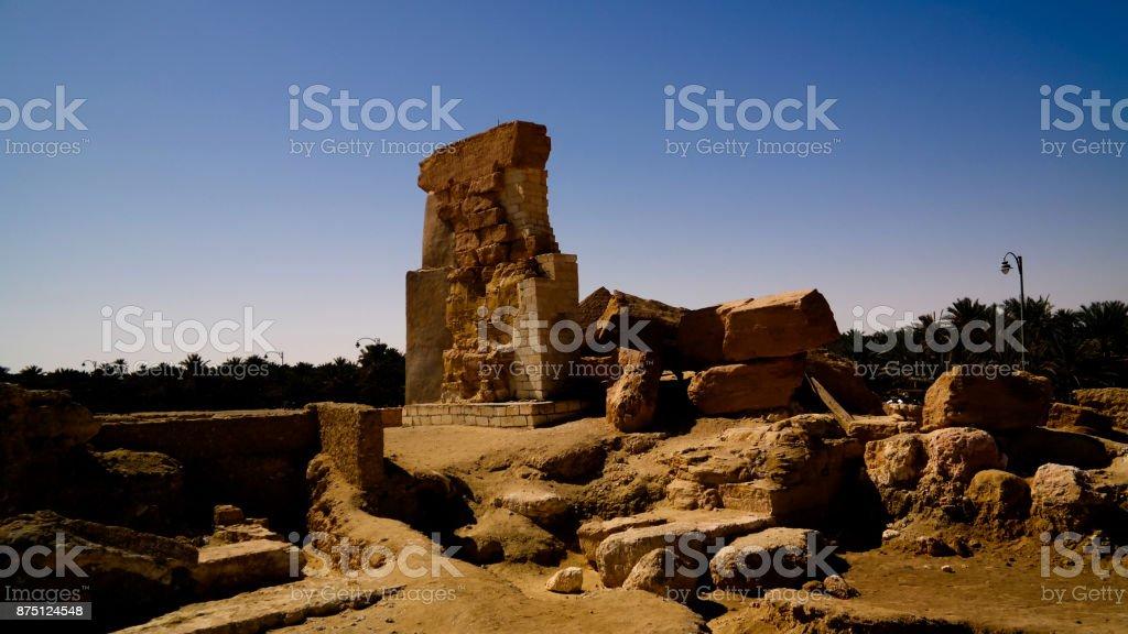 Ruined Temple of Amun at Umm 'Ubeida, Siwa, Egypt stock photo