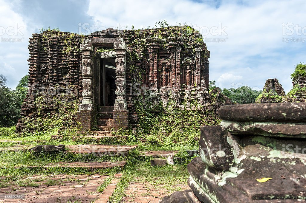 Ruined temple of the ancient Champa stock photo