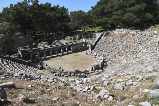 Verwüstetes Theater der antiken Stadt Priene in der Türkei – Foto