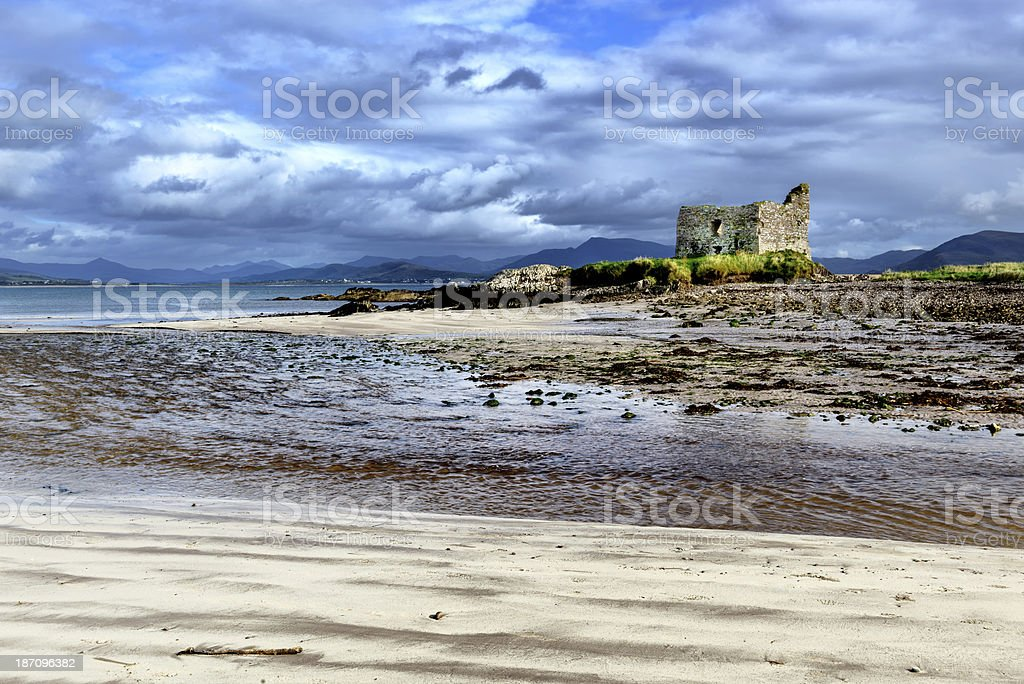 Ruined Tower House at Ballinskelligs, Ireland royalty-free stock photo