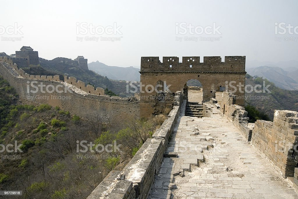 Ruined tower of famous Great Wall royalty-free stock photo