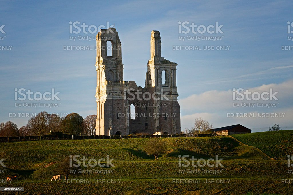 Ruined towers of Mont-Saint-Eloi abbey, France stock photo