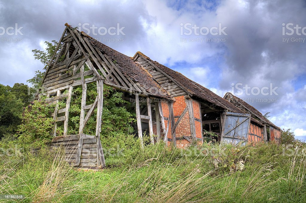 Ruined Warwickshire barn stock photo