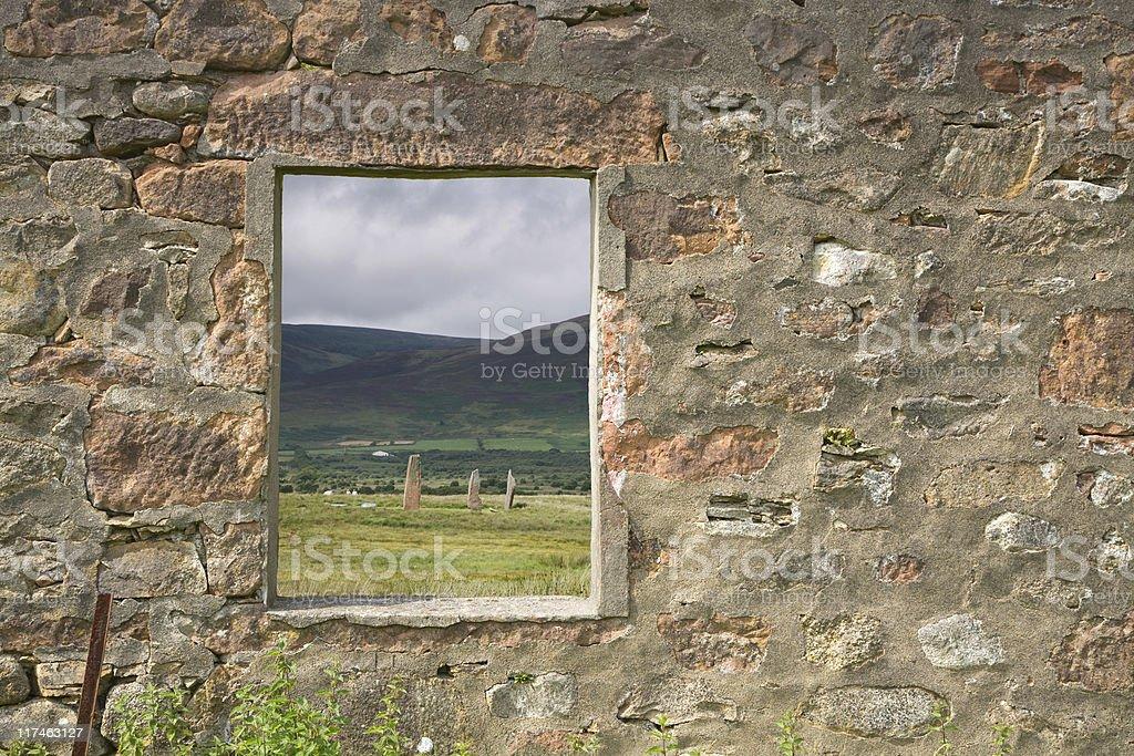 ruined window stock photo