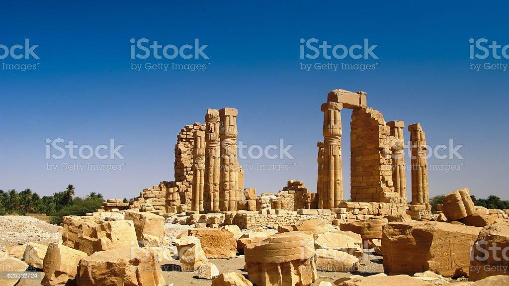 Ruines of Amun temple in Soleb Sudan stock photo