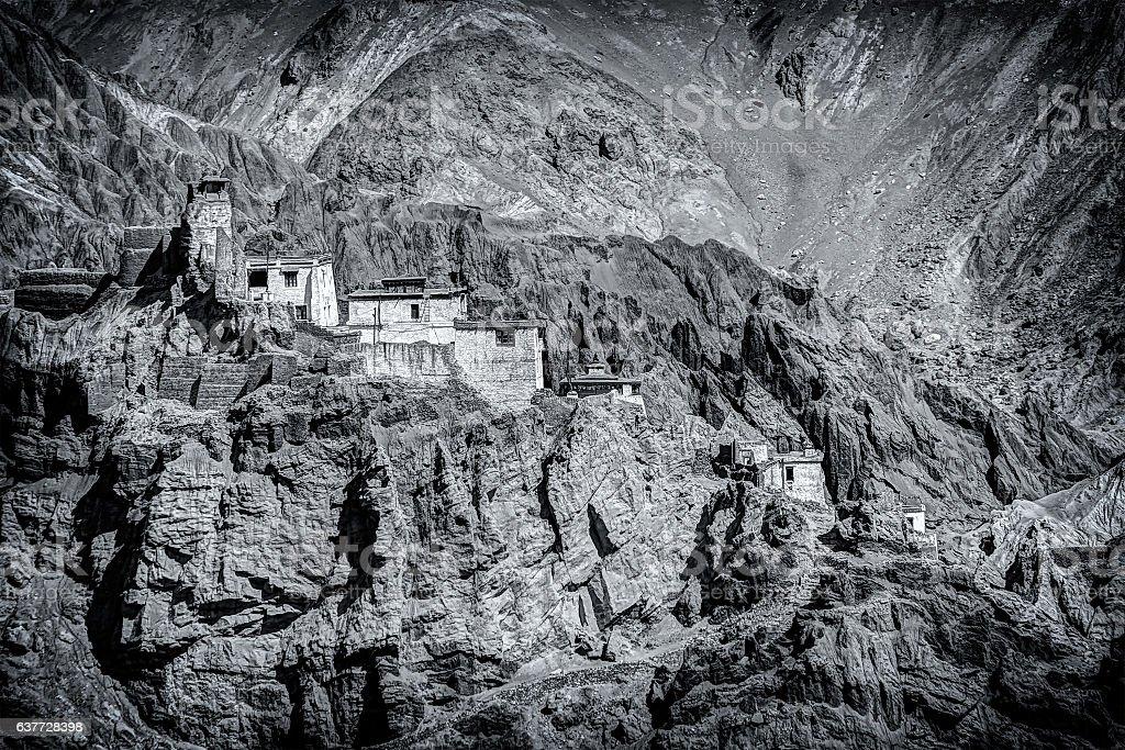 Ruins and Basgo Monastery, Leh, Ladakh, Jammu and Kashmir, India stock photo