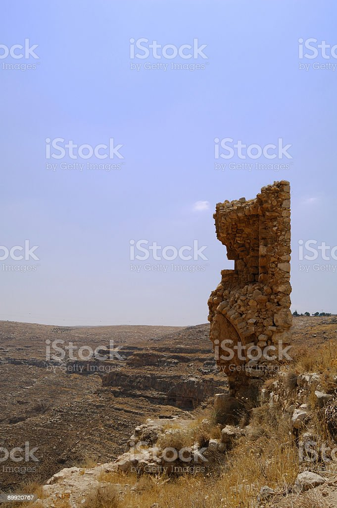 Ruins and canyon. stock photo