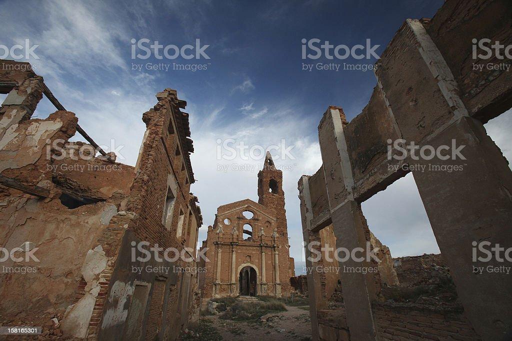 Ruins and church in Belchite stock photo