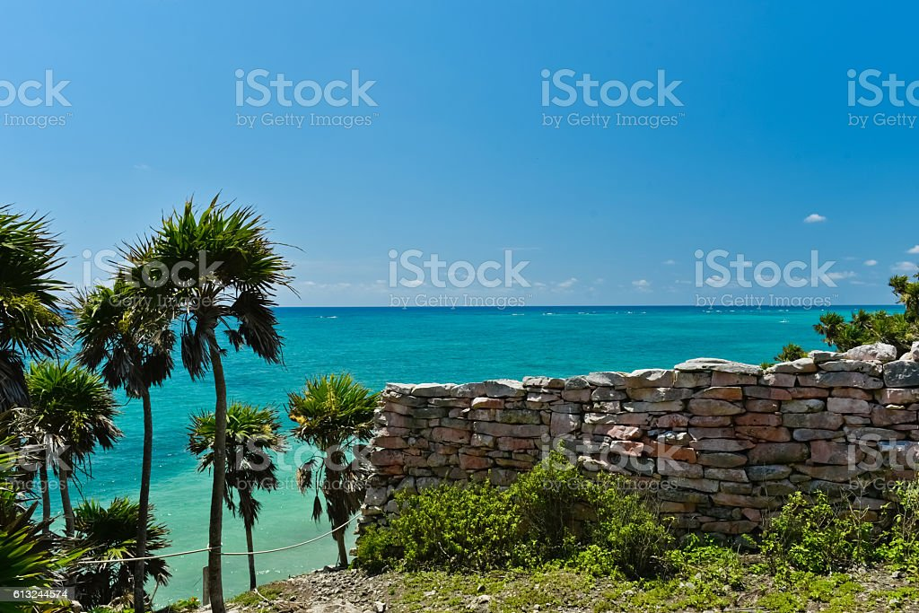 Ruins and the Caribbean (horizontal) stock photo
