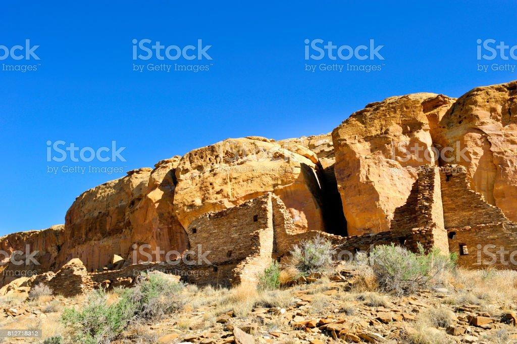Ruins at Chaco Canyon stock photo