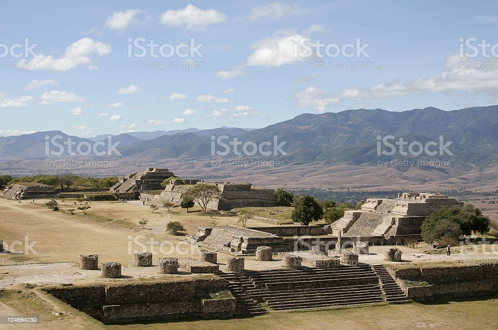 Ruins at Monte Alban stock photo