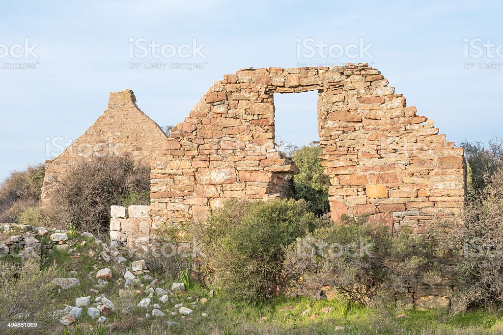 Ruins at sunset on Groenrivier farm at Nieuwoudtville stock photo