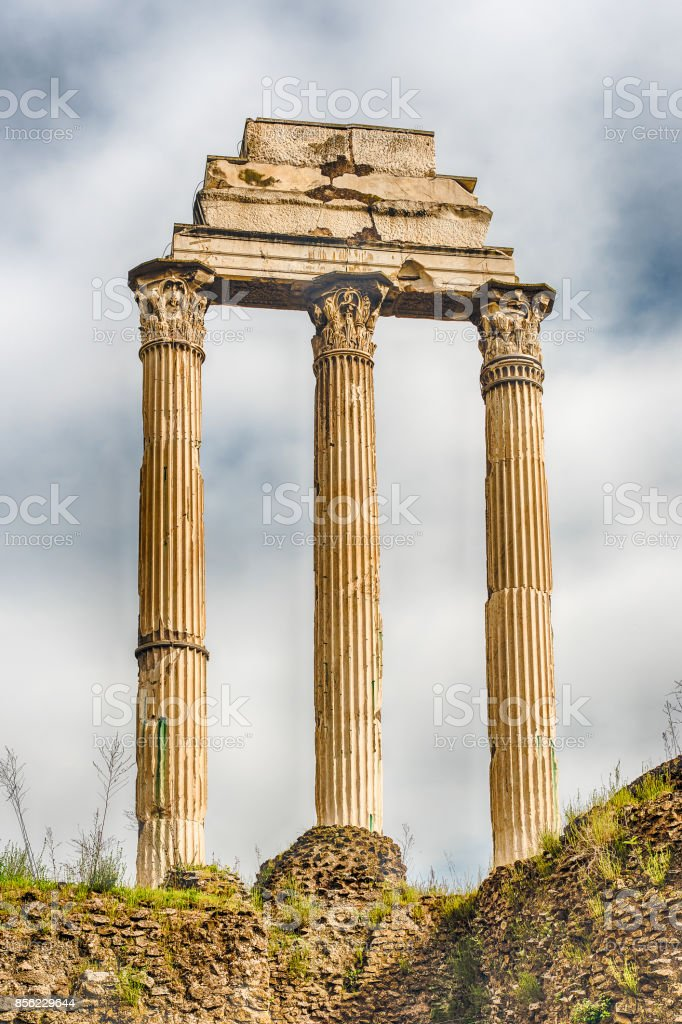 Ruins at Temple of Castor & Pollux, Roman Forum, Italy stock photo