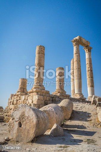 Roman column ruins in Jordan