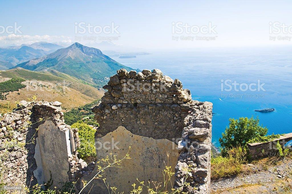 Ruins castle. Maratea. Basilicata. Italy. stock photo