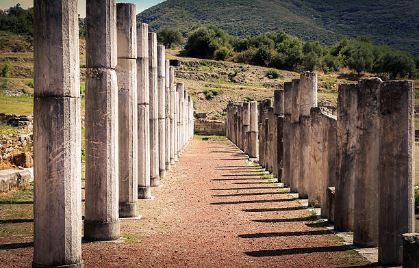 ruins in ancient city of Messina, Greece stock photo