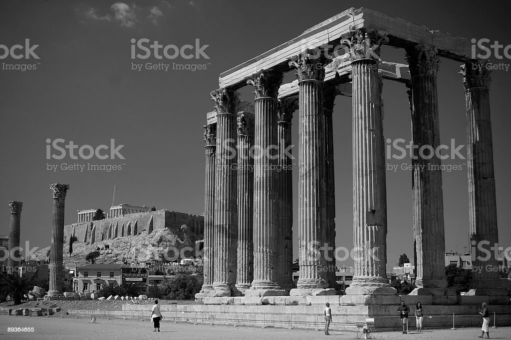 Ruines dans la Grèce (b & w photo libre de droits