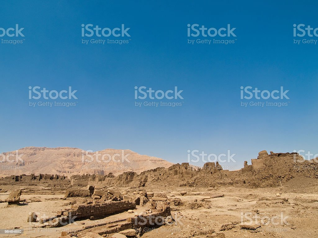 ruins in Medinet Habu temple royalty-free stock photo