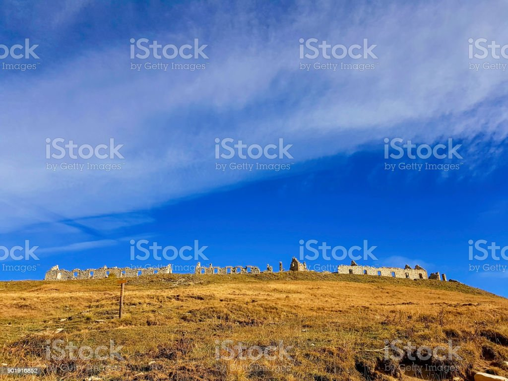 Ruins in mountain, Mercatour National Park, France stock photo