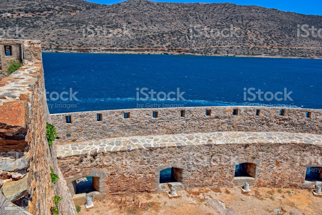 Ruins in the abandoned leper colony Spinalonga, Crete stock photo