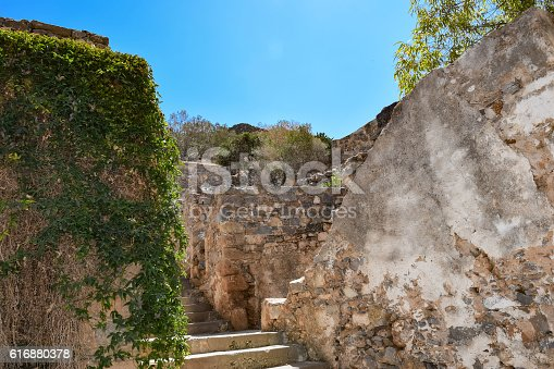 Ruins in the abandoned leper colony on Spinalonga island (also known as Kalydon), Greece.