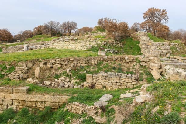 Ruinen in die antike Stadt Troja in der Türkei, Kleinasien mit Blick auf Umgebung – Foto