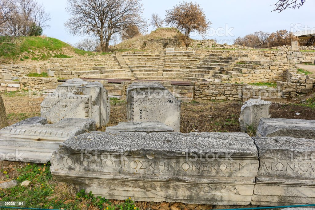 Ruins in the ancient city of Troy, in Turkey, Asia Minor with view of surrounding area stock photo