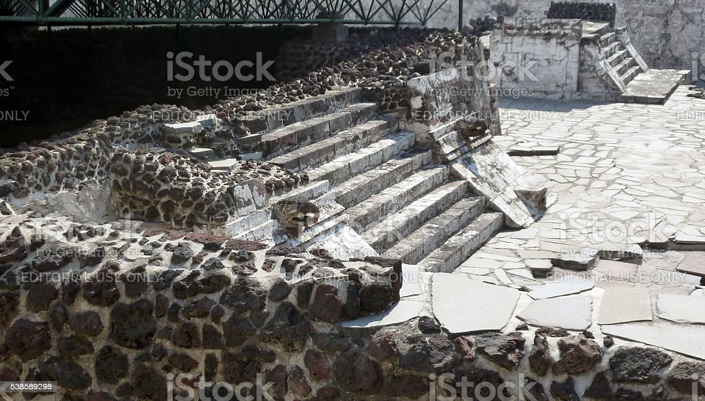 Ruins in the Templo Mayor complex in Mexico City stock photo
