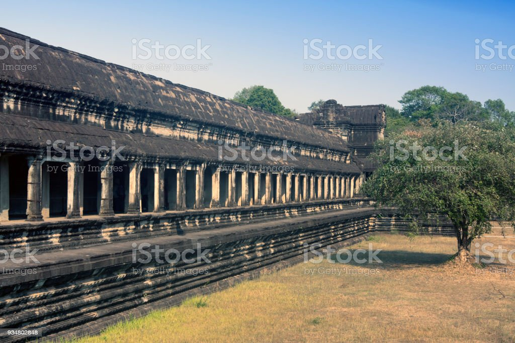 주요 앙코르 와트 사원 복잡 한의 영토에서 유적, 씨엠립, 캄보디아 - 로열티 프리 건축 스톡 사진