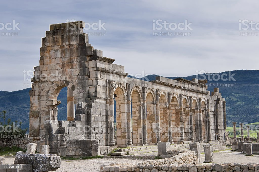 Ruins in volubilis royalty-free stock photo