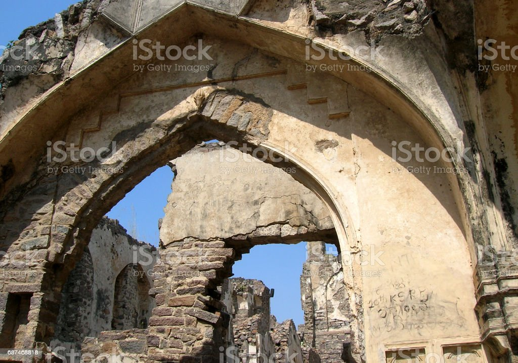 ruins of 400 year old heritage fort Golconda,Hyderabad,India stock photo