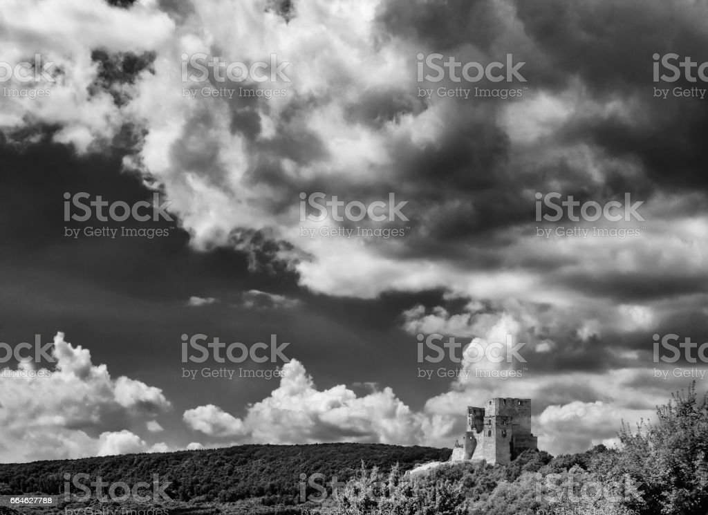Ruins of a castle with Sky and Clouds stock photo
