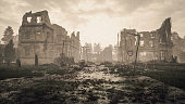 Ruins of a city. Apocalyptic landscape
