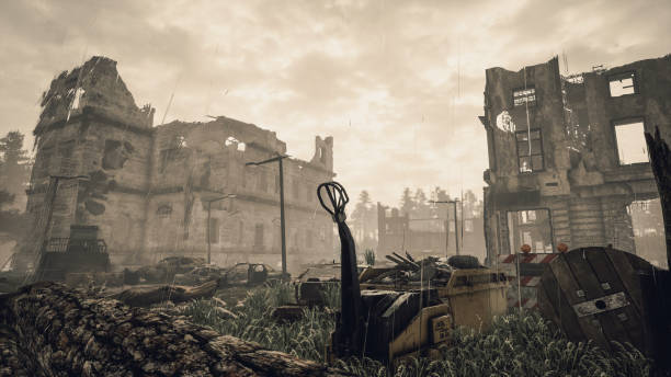ruins of a city. apocalyptic landscape - depredation stock pictures, royalty-free photos & images