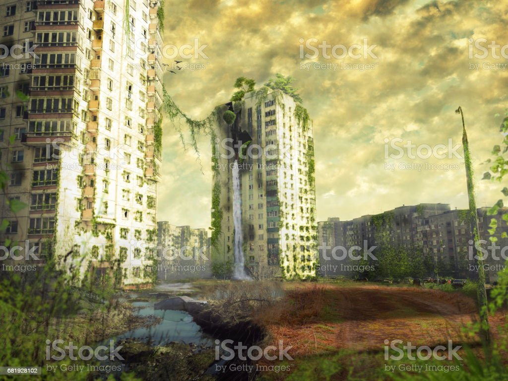 Ruins of a city. Apocalyptic landscape - foto de stock