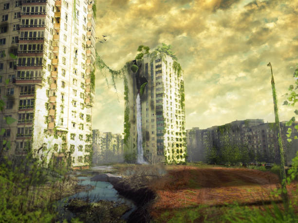 ruins of a city. apocalyptic landscape - apocalypse stock photos and pictures