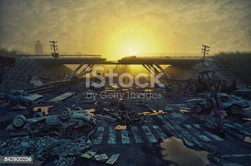istock Ruins of a city highway 842900256