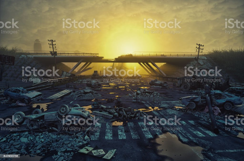 Ruins of a city highway stock photo