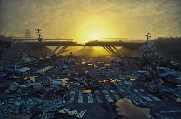 ruins of a city highway - apocalypse stock photos and pictures