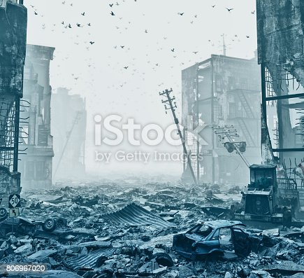 istock ruins of a city  in a fog 806967020