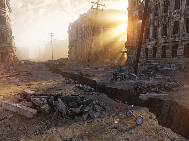 ruins of a city - apocalypse stock photos and pictures