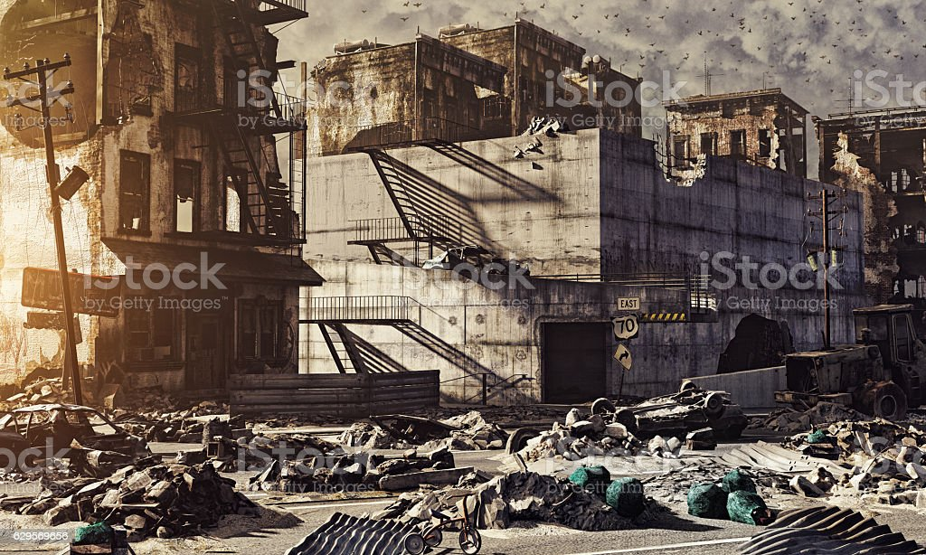 ruins of a city stock photo