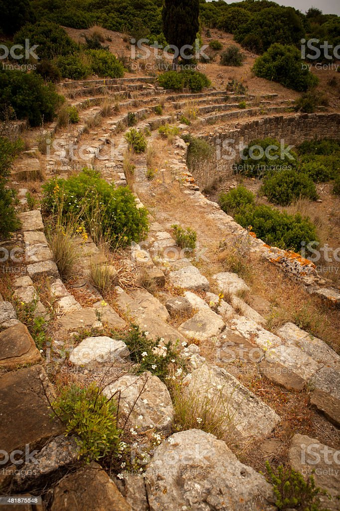 Ruins of a coliseum at Lixus in Morocco stock photo