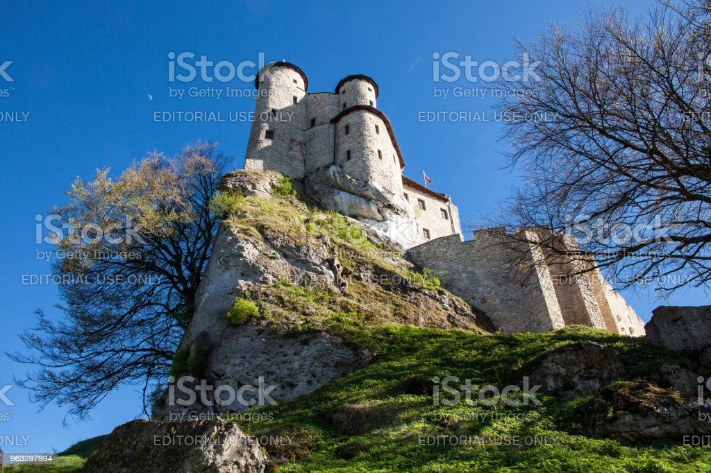 Ruins of a Gothic castle and hotel in Bobolice, Poland. Castle in the village of Bobolice, Jura Krakowsko-Czestochowska. The Trail of the Eagle's Nests. Built during the reign of  Kazimierz Wielki. – zdjęcie