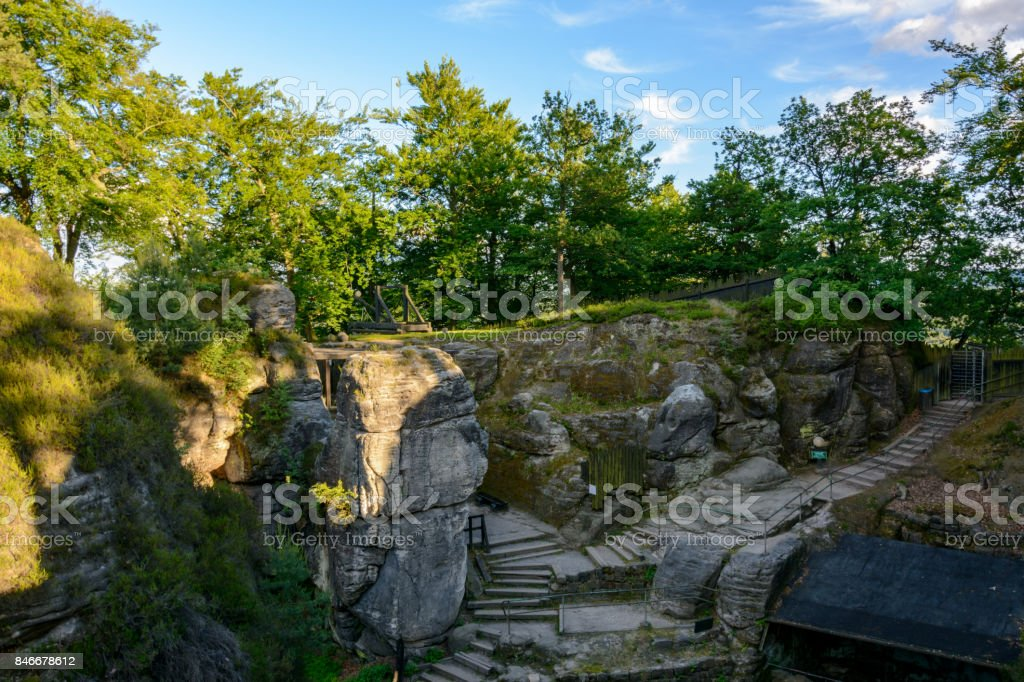 Ruins of a medieval settlement in the rocks. Germany, Saxony stock photo