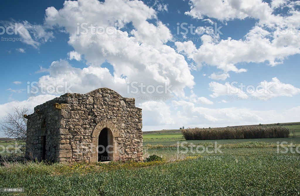 Ruins of a small Christian church stock photo